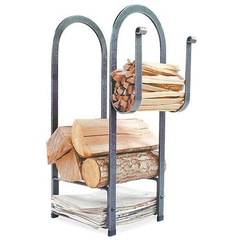 Enclume Fire Center Log Rack, Hammered Steel