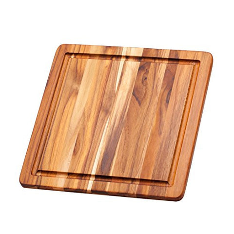Teak Cutting Board - Square Chopping And Serving Board With Juice Canal (12 x 12 x .55 in.) - By Teakhaus