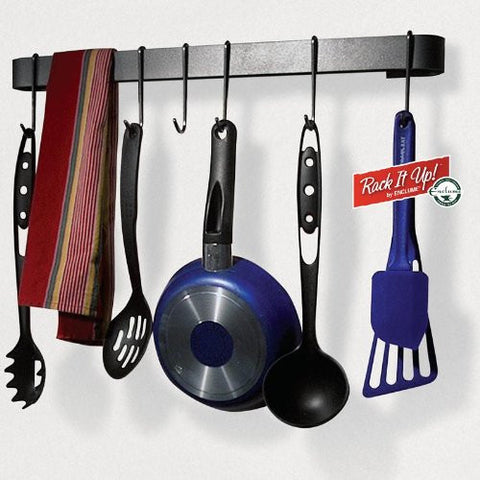 "Rack It Up Utensil Bar Pot Rack Steel Medium Gray 22"" L X 2"" W X 5"" H"