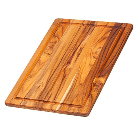 Teak Cutting Board - Rectangle Serving Board With Juice Canal (15.75 x 11 x .55 in.) - By Teakhaus