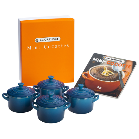 LE CREUSET MINI COCOTTES SET WITH COOKBOOK - MARSEILLE