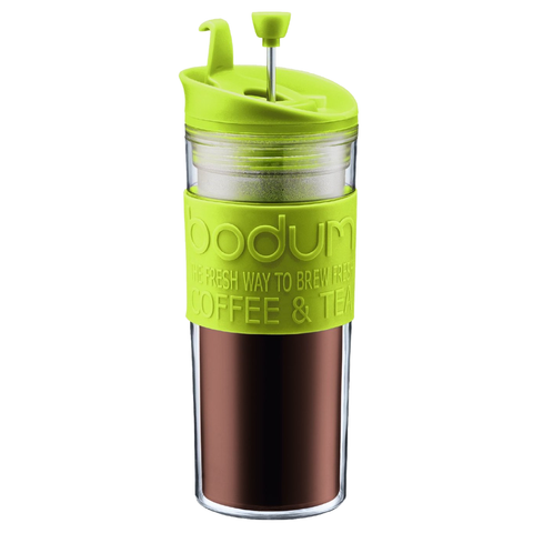 BODUM 15-OUNCE TRAVEL FRENCH PRESS MUG - GREEN