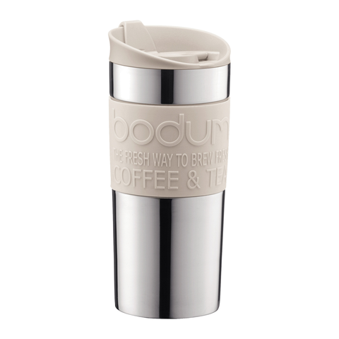 BODUM 15-OUNCE VACUUM TRAVEL MUG - OFF WHITE