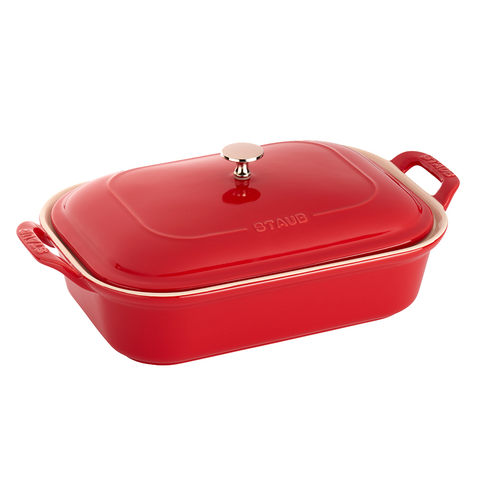 STAUB CERAMIC RECTANGULAR COVERED BAKING DISH - CHERRY