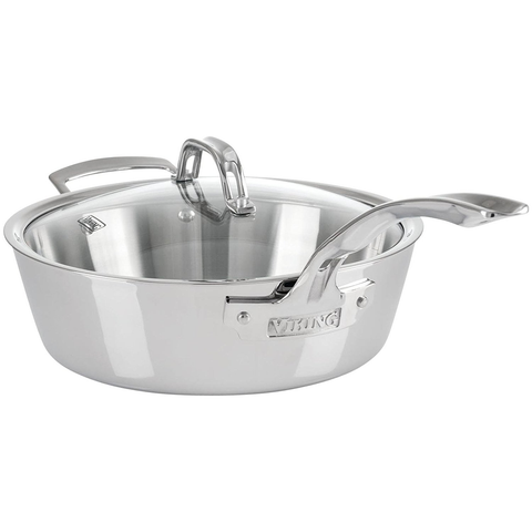 Viking Contemporary 3-Ply Stainless Steel Sauté Pan with Lid, 3.6 Quart