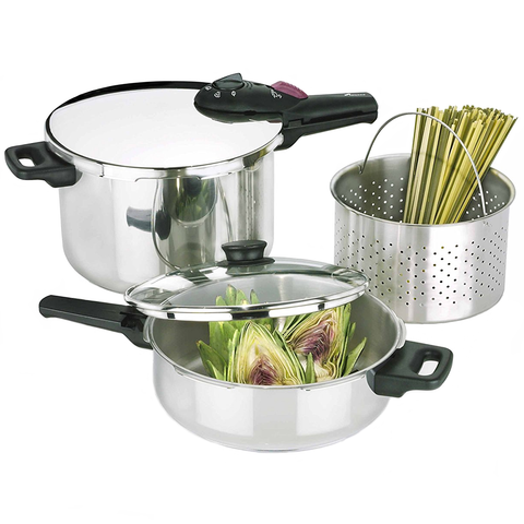 FAGOR SPLENDID 5-PIECE 2-IN-1 PRESSURE COOKER SET
