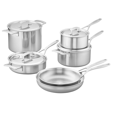 DEMEYERE INDUSTRY 5-PLY 10-PIECE STAINLESS STEEL COOKWARE SET