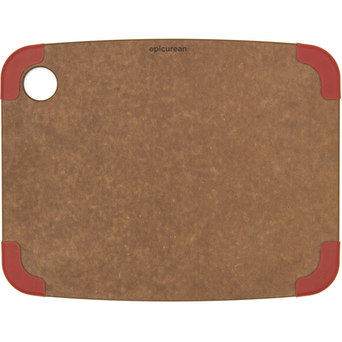 EPICURE NONSLIP SERIES 11.5'' X 9'' CUTTING BOARD - NUTMEG/RED