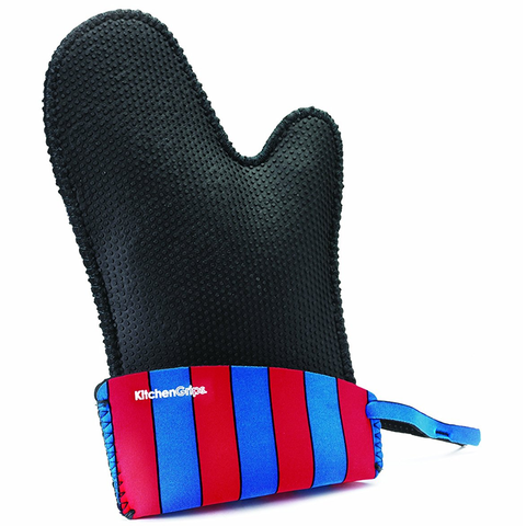 KITCHENGRIPS RELAXED FIR SINGLE MITT, EXTENDABLE CUFF - CARNIVAL