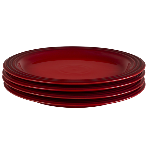 LE CREUSET 10 1/2'' DINNER PLATES, SET OF 4 - CERISE