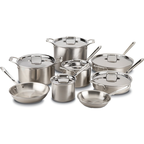 ALL-CLAD D5® BRUSHED STAINLESS 14-PIECE COOKWARE SET