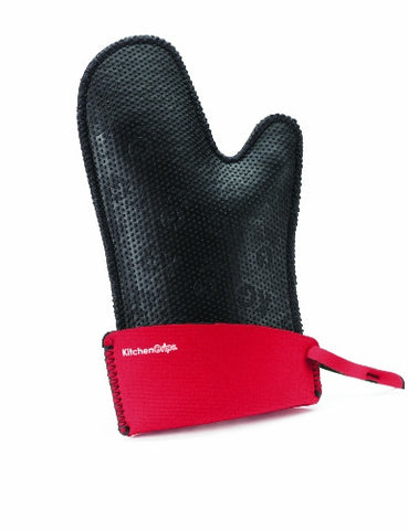 KitchenGrips Fitted Single Mitt, Extendable Cuff, Cherry