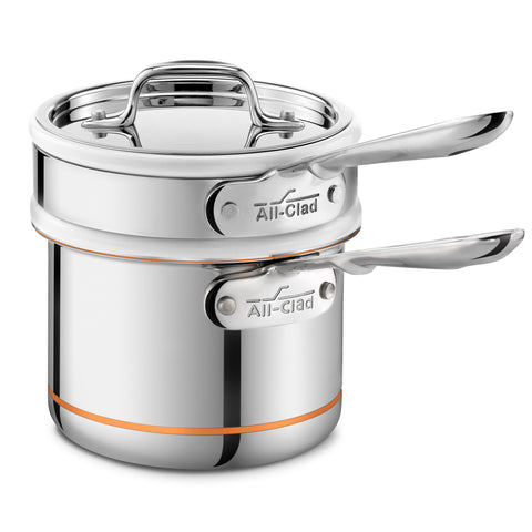 ALL-CLAD COPPER CORE 2-QUART SAUCE PAN WITH PORCELAIN DOUBLE BOILER INSERT