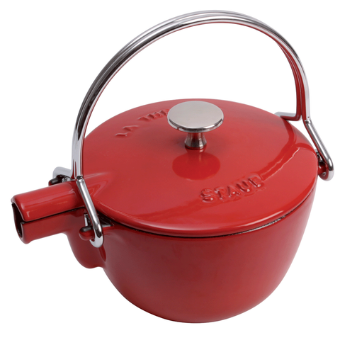 STAUB CAST IRON 1-QUART TEA KETTLE - CHERRY