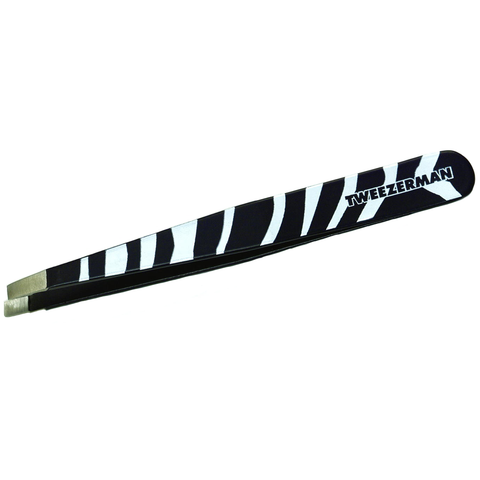 TWEEZERMAN ANIMAL PRINT SLANT TWEEZERS - ZEBRA PRINT