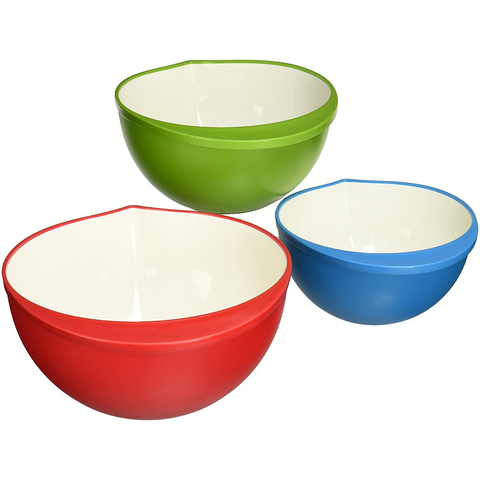 TRUDEAU POLYPROPYLENE MIXING BOWLS SET/3 TWO-TONE