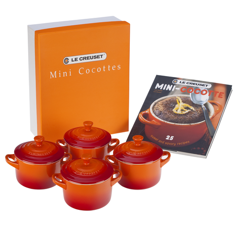 LE CREUSET MINI COCOTTES SET WITH COOKBOOK - FLAME