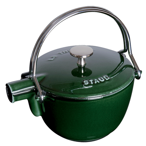 STAUB CAST IRON 1-QUART ROUND TEA KETTLE - BASIL