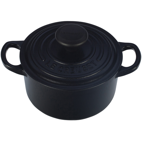 LE CREUSET 1-QUART ROUND DUTCH OVEN,  MATTE BLACK
