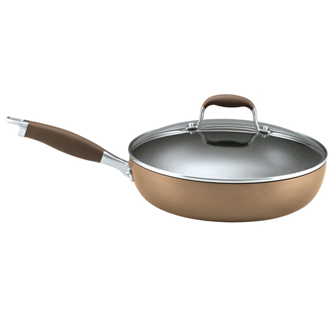 ANOLON 12-INCH COVERED DEEP SKILLET, BRONZE