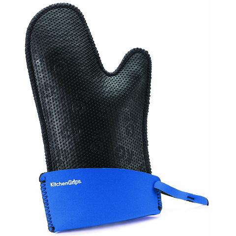 KITCHENGRIPS FITTED SINGLE MITT, EXTENDABLE CUFF - BLUEBERRY