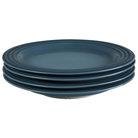 LE CREUSET 8-½'' SALAD PLATES, SET OF 4 - MARINE