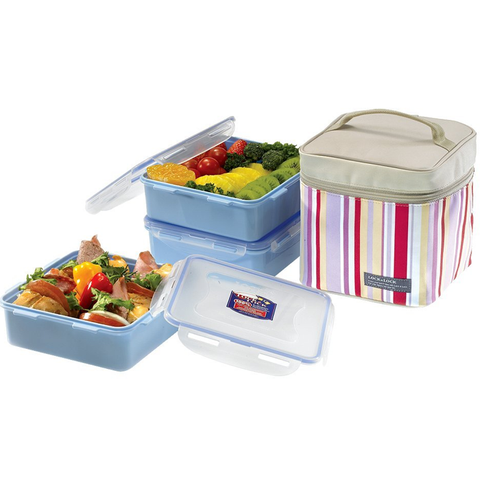 LOCK & LOCK 3 PIECE SET LUNCH BOX WITH INSULATED STRIPE BAG, 10.8 CUPS