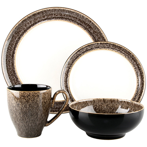 DENBY PRALINE 4-PIECE WIDE RIM PLACE SETTING