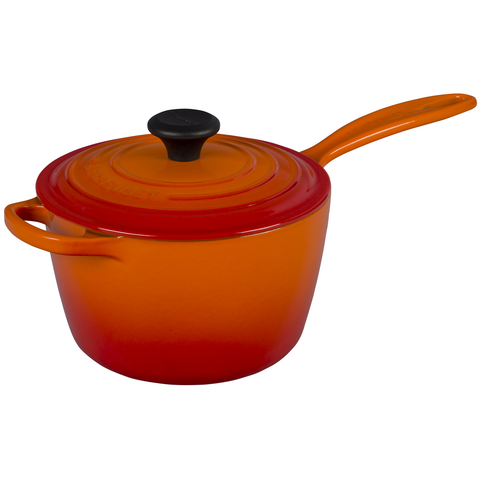 Le Creuset of America Enameled Cast Iron Sauce Pan, 2 1/4-Quart, Flame