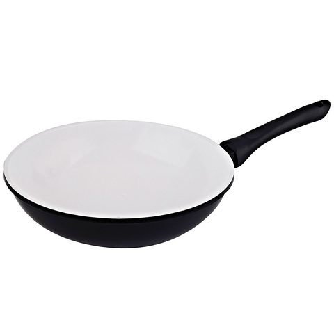 VINAROZ DIE CAST ALUMINUM WOK WITH CERAMIC COATING 30-CM - BLACK