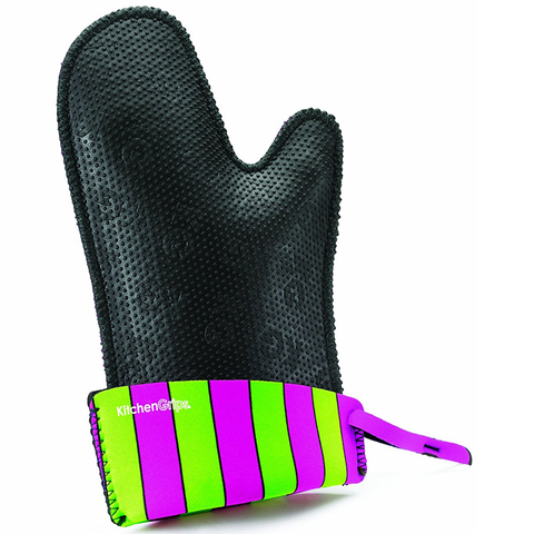 KITCHENGRIPS FITTED SINGLE MITT, EXTENDABLE CUFF - CARNIVAL