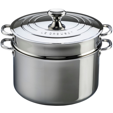 LE CREUSET 9-QUART STAINLESS STEEL STOCKPOT WITH COLANDER INSERT