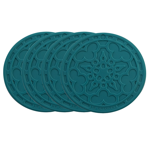 LE CREUSET FRENCH COASTERS, SET OF 4 - CARIBBEAN