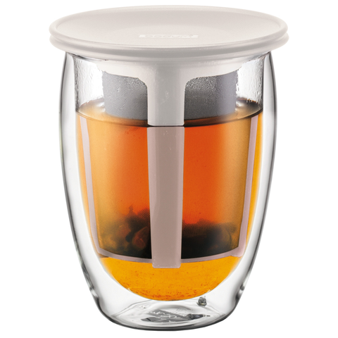BODUM TEA FOR ONE12-OUNCE GLASS DOUBLE WALL WITH TEA STRAINER - OFF WHITE