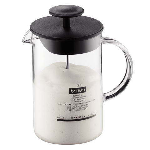 Bodum Latteo 8-Ounce Milk Frother with Glass Handle, Black