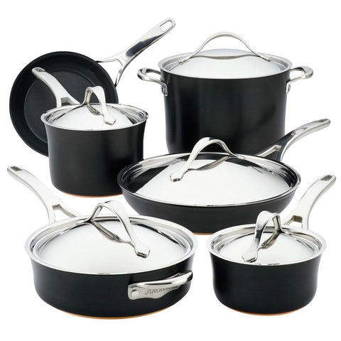 ANOLON NOUVELLE COPPER LUXE 11-PIECE COOKWARE SET - ONYX