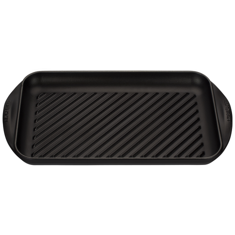 LE CREUSET 15 3/4'' X9'' X 1'' EXTRA-LARGE DOUBLE BURNER GRILL - MATE BLACK