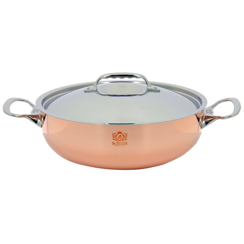 Debuyer Prima Matera 3.2-Quart Stainless Steel Saute-Pan, Copper With Stainless Steel Lid