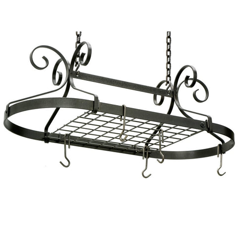 Enclume Decor Oval Ceiling Rack With Grid, Hammered Steel
