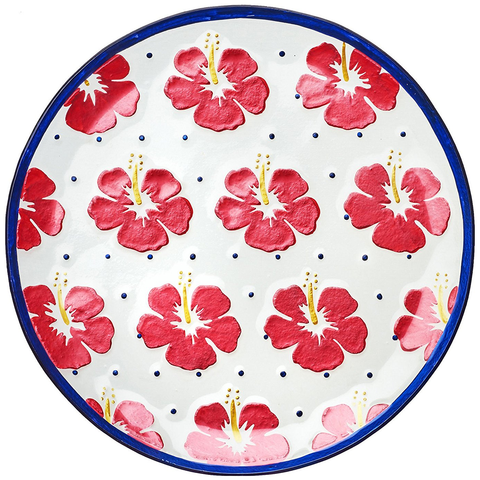 AMICI HOME HIBISCUS TROPICAL GLASS PLATTER