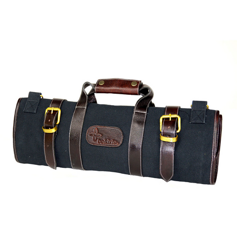 BOLDRIC 17-POCKET CANVAS KNIFE BAG - BLACK
