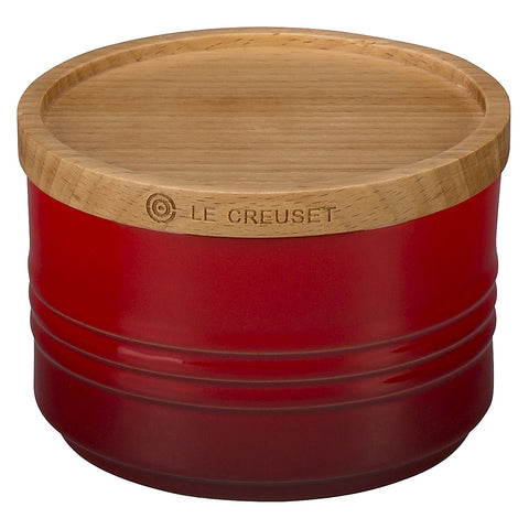 "LE CREUSET OF AMERICA 4"" CANISTER WITH WOOD LID, 12-OUNCE - CERISE"