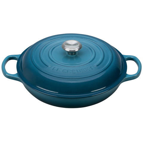 Le Creuset Signature Enameled Cast-Iron 3-1/2-Quart Round Braiser, Marine