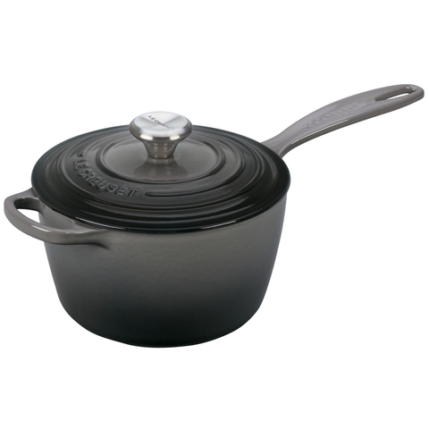 Le Creuset Signature Cast Iron Sauce Pan, 3.25-Quart, Oyster Grey
