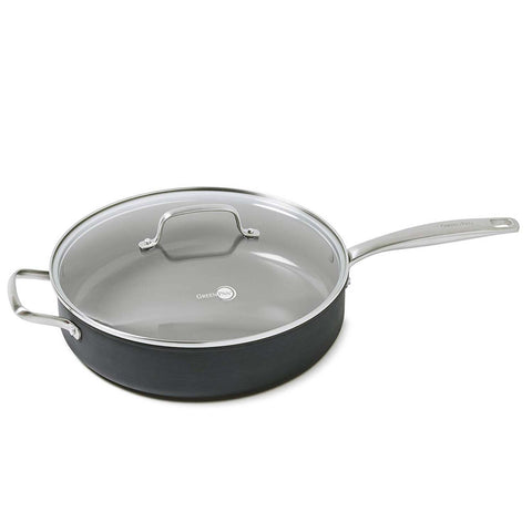GREEN PAN CHATMAN CERAMIC 5-QUART NON-STICK COVERED SAUTE PAN WITH HANDLE HELPER