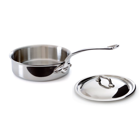 Mauviel Made In France M'Cook 5 Ply Stainless Steel 5211.21 1.9 Quart Saute Pan with Lid, Cast Stainless Steel Handle