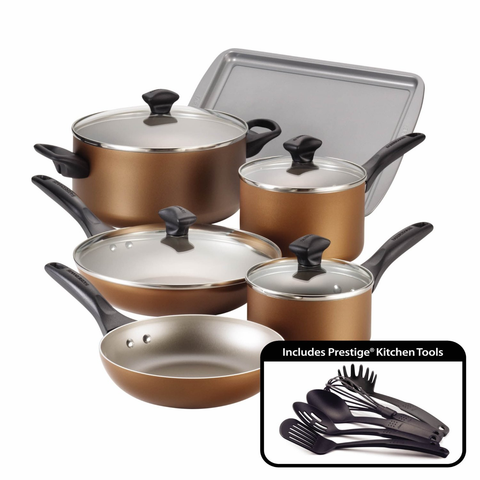 Farberware Dishwasher Safe Nonstick Aluminum 15-Piece Cookware Set, Copper