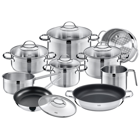 WMF 14 Piece Achat Cookware Set, Large, Silver
