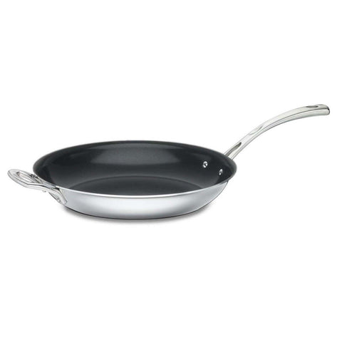 "CUISINART FRENCH CLASSIC TRI-PLY STAINLESS COOKWARE 12"" NONSTICK FRYING PAN WITH HELPER HANDLE"