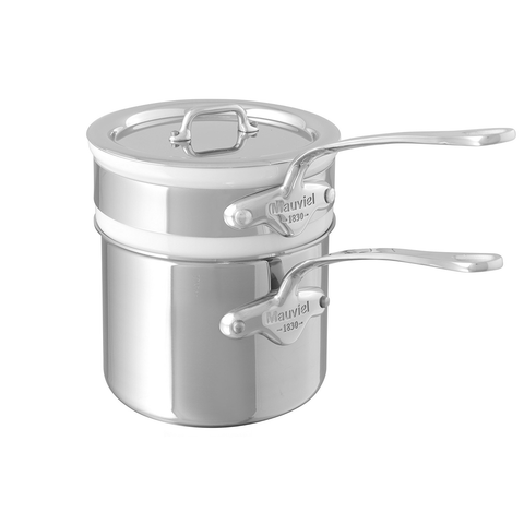 Mauviel Made In France M'Cook 5 Ply Stainless Steel 5204.14 1.6 Quart Bain Marie with Lid, Cast Stainless Steel Handle